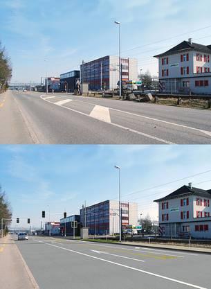 Oben der heutige SBB-Übergang an der Aarauerstrasse in Brugg, unten der zukünftige Übergang