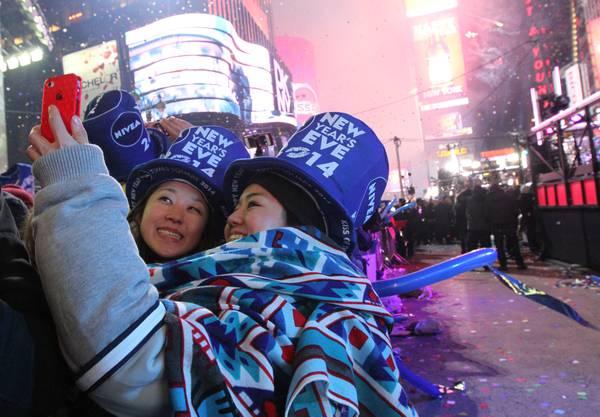 Am Times Square in New York wird gefeiert