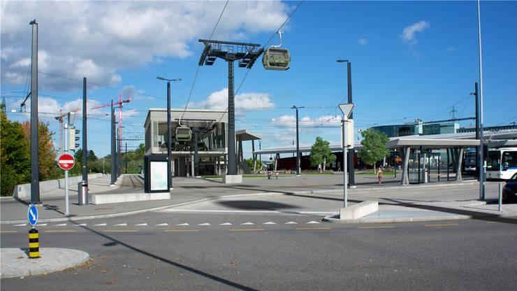 So sähe die Talstation der Zooseilbahn beim Bahnhof Stettbach aus. Visualisierung