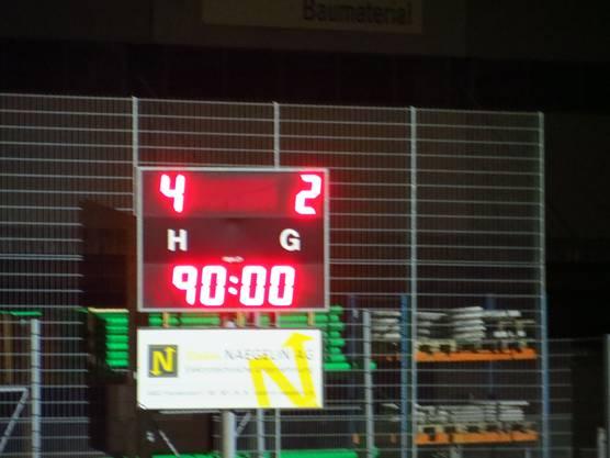 Das Endergebnis 4 : 2 für den FC Frenkendorf : FC Ferad b