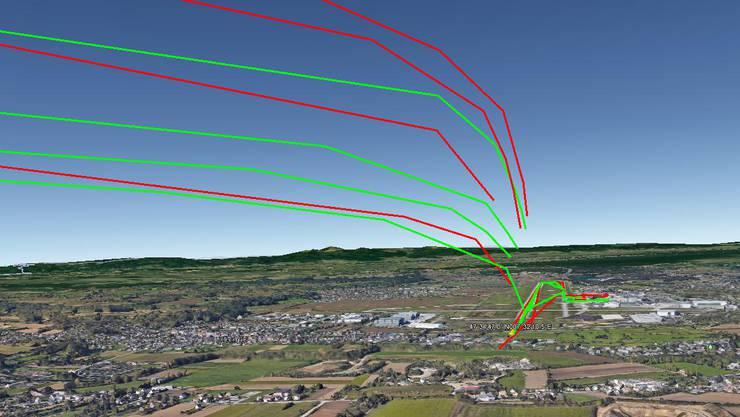 Starts vom Nordende der Piste (rote Linien) bringen Höhengewinne und lindern damit den Fluglärm.