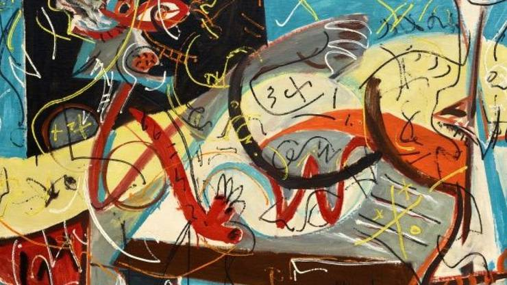 """""""Stenographic Figure"""", eines der figurativen Werke von Jackson Pollock, das derzeit im Kunstmuseum Basel gezeigt wird."""