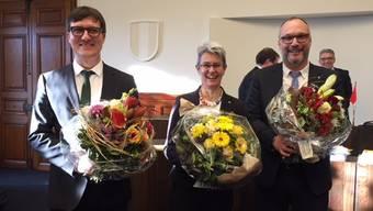 Verena Meyer ist die neue Kantonspräsidentin. Daniel Urech (links) ist 1. Vizepräsident, Hugo Schumacher 2.Vizepräsident.