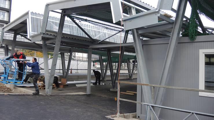 Die Velostation wird bald schon eröffnet. Derzeit laufen die Bauarbeiten noch.