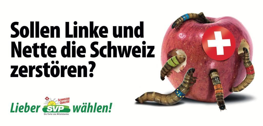 Die Schweiz als Apfel, der ausgehölt wird von Würmern in den Farben der Parteien sowie der EU.