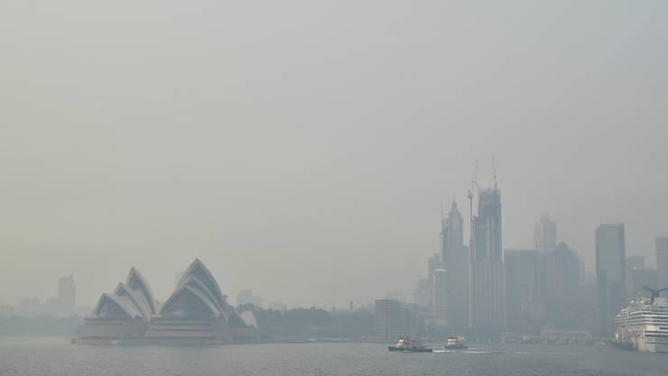In der australischen Metropole Sydney ist die Luft durch Rauchschwaden von Buschfeuern erneut wieder stark eingetrübt.