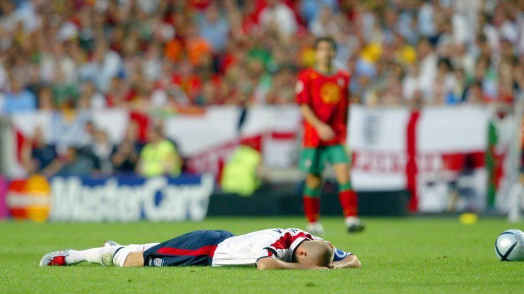 David Beckham verlor 2004 mit England im Penaltyschiessen gegen EM-Gastgeber Portugal