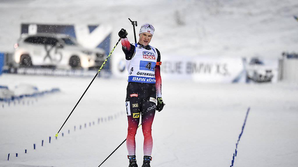 Vetle Sjaastad Christiansen beim triumphalen Zieleinaluf für Norwegen