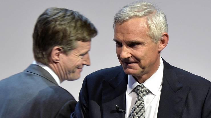 CS-Verwaltungsratspräsident Urs Rohner (rechts) und CS-Konzernchef Brady Dougan an der diesjährigen Generalversammlung vom 9. Mai.