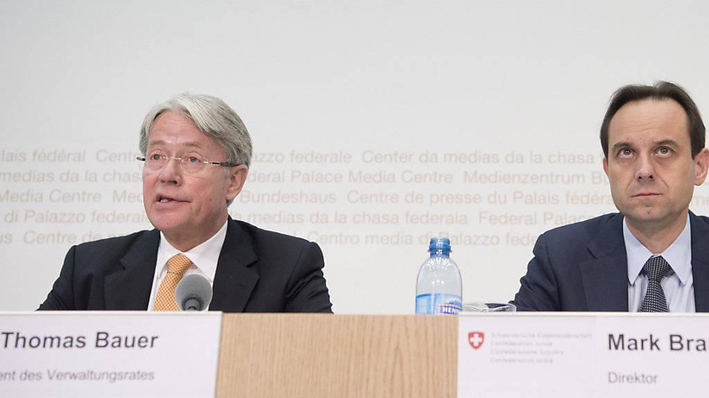 Das Führungsgespann der Finanzmarktaufsicht: Präsident Thomas Bauer (links), Direktor Mark Branson (Archivbild)