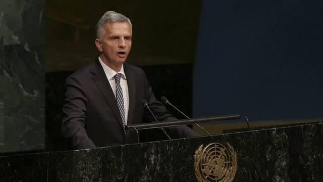 Der Schweizer Aussenminister Didier Burkhalter vor der UNO