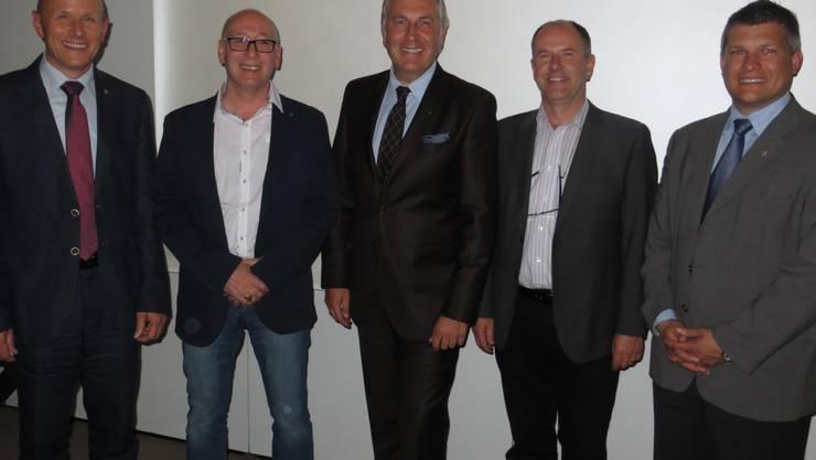 Der neue Vorstand: v.r. Thomas Jenni Geschäftsführer, Oliver Frei, René Bobnar Präsident, Daniel Hürzeler, Philippe Arnet. Auf dem Bild fehlt Roger Widmer welcher in den Ferien ist.