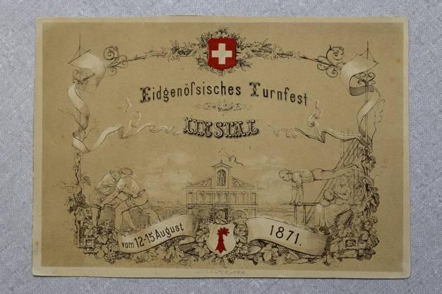 Die Akkreditierungskarte des ehemaligen Bundesrates Emil Frey zum Eidgenössischen Turnfest in Liestal 1871.