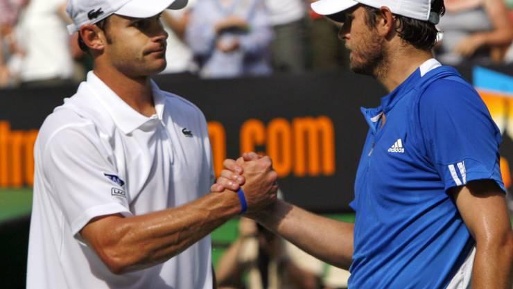 Andy Roddick (l) und Mardy Fish (r) bestreiten in Atlanta gemeinsam die Doppelkonkurrenz
