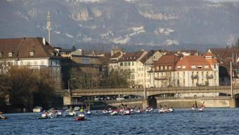 Solothurner Kajakfahrer auf der Aare.