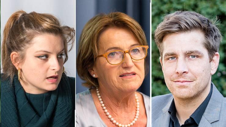 Von links nach rechts: Mia Jenny (Aargauer Juso-Präsidentin), Renate Gautschy (Präsidentin der Gemeindeammännervereinigung), Daniel Hölzle (Präsident der Grünen Aargau).