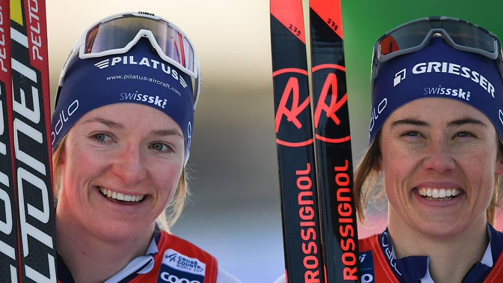 Nadine Fähndrich (links) und Laurien van der Graaff freuen sich über die Qualifikation für die Halbfinals. (Archivaufnahme)
