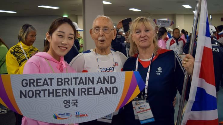 Ging für Grossbritannien an den Start: Charles Eugster und seine Trainerin Sylvia Gattiker bei den Weltmeisterschaften in Südkorea.
