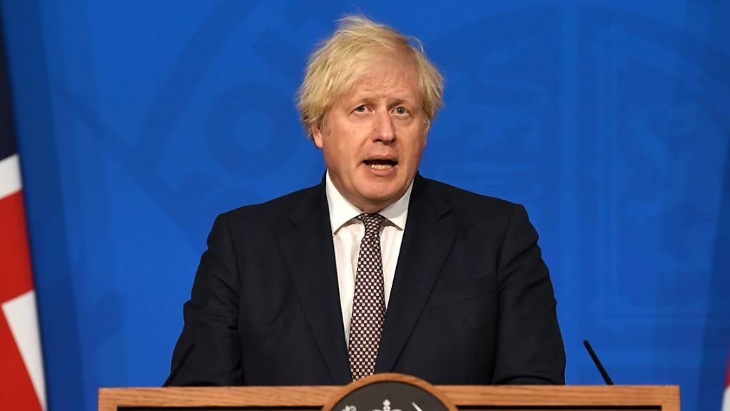 Boris Johnson, Premierminister von Großbritannien, bei einer Pressekonferenz in der Downing Street. Foto: Daniel Leal-Olivas/PA Wire/dpa