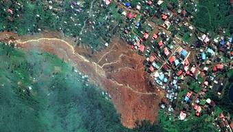 Satellitenbild des Erdrutsches in Freetown.