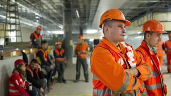 Baustellenblockade am HB Zürich im Oktober 2013: Jetzt haben die osteuropäischen Arbeiter ihre korrekten Löhne erhalten.