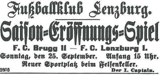 Inserat für ein Spiel vom 6.3.1921 in der Wilmatten