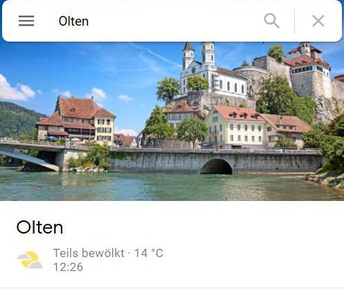 Google Maps zeigt für die Suche nach Olten beim Anzeigenbild fälschlicherweise oft die Silhouette Aarburgs.