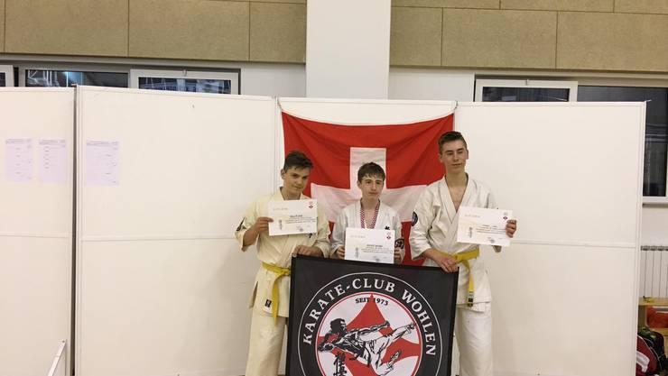 Erfolgreiche Wohler Karatekas Nick Müller, Sandro Kuster und Max Norsky (v.l.) am Vollkontakt-Turnier in Zagreb