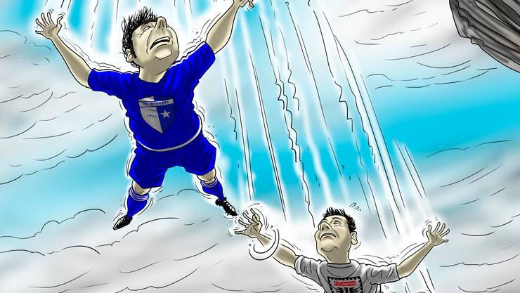Bitte mit einem Augenzwinkern betrachten: die Karikatur mit dem FCA und dem FCW als Protagonisten.