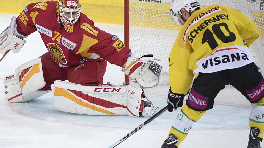 Tristan Scherwey trifft gegen Langnaus Keeper Ivars Punnenovs zum 1:0.
