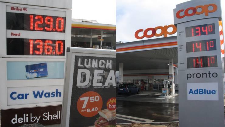 Der neue Tankstellen-Shop von Coop an der Bielstrasse (rechts) war der Auslöser für den «Benzinkrieg» in und um Solothurn. Bei Shell lag der Preis für die Sorte Bleifrei 95 am Montag Mittag unter der ominösen Marke von 1.30 Franken.