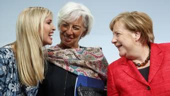 Ivanka Trump, IWF-Chefin Christine Lagarde und Kanzlerin Angela Merkel gestern in Berlin.