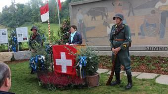 Regierungsrätin Franziska Roth betont in ihrer Ansprache, dass jeder seinen Beitrag zur Sicherheit der Schweiz zu leisten hat.Louis Probst