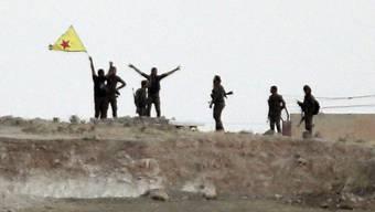 Mitglieder der kurdischen Volksschutzeinheiten (YPG) schwenken nahe der Grenzstadt Tell Abjad ihre gelbe Flagge