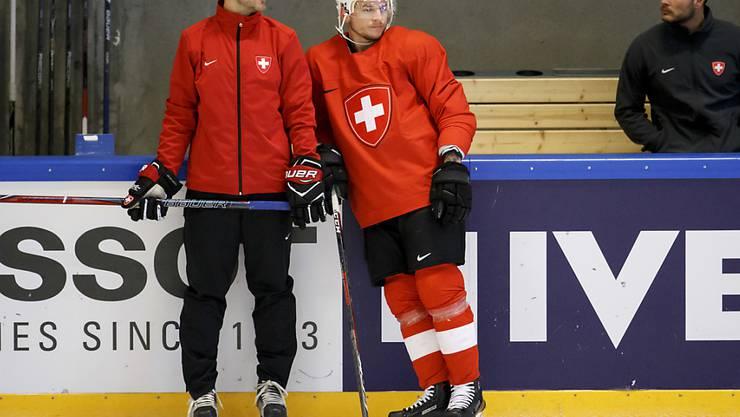 NHL-Stürmer Sven Andrighetto (rechts) wird dem Nationalteam am Dienstag gegen Österreich erstmals zur Verfügung stehen