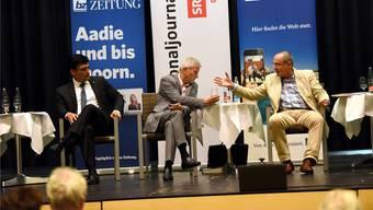 Am bz-Podium von Donnerstagabend attackierten sich die Ständeratskandidaten Christoph Buser, Hans Furer und Claude Janiak (v.l.) nur selten direkt.