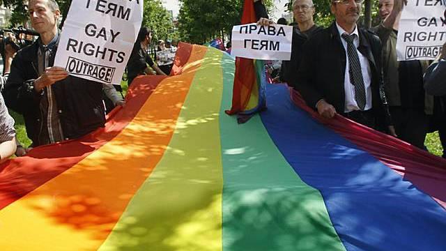 Friedliche Protestaktion von Homosexuellen in Moskau