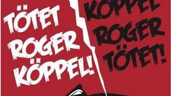 Das Plakat um Roger Köppel aus dem Theaterstück «2099» von Philipp Ruch.
