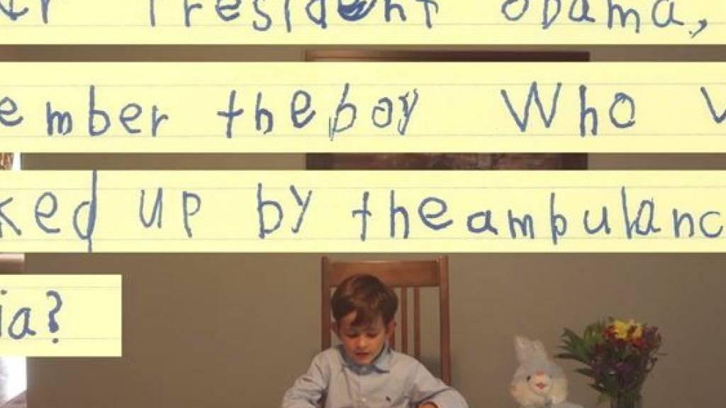 Das Weisse Haus produzierte ein Video mit dem sechsjährigen Alex, der einen syrischen Bub bei sich zu Hause aufnehmen will.