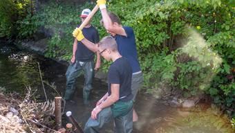 Im Rickenbächli zwischen Herbetswil und Aedermannsdorf wird von den Schülern neuer Lebensraum für Fische geschaffen.