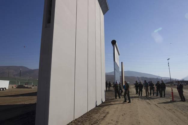 Im kalifornischen San Diego werden acht Prototypen für eine Grenzmauer zu Mexiko aufgestellt.