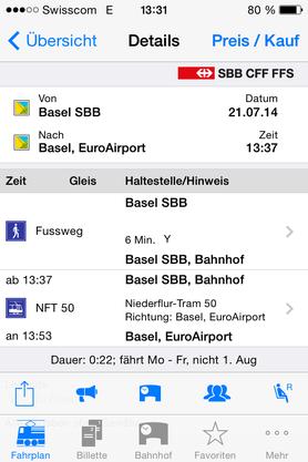 Im SBB-App gibt es ein Niederflur-Tram 50, das zum Basler Euroairport fährt.