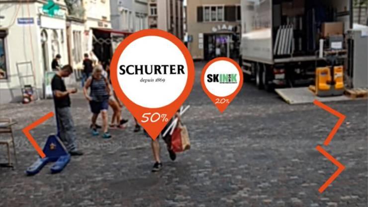 Im Radius von 25 Meter erscheinen die Gutscheine der Läden im Niederdorf. zvg