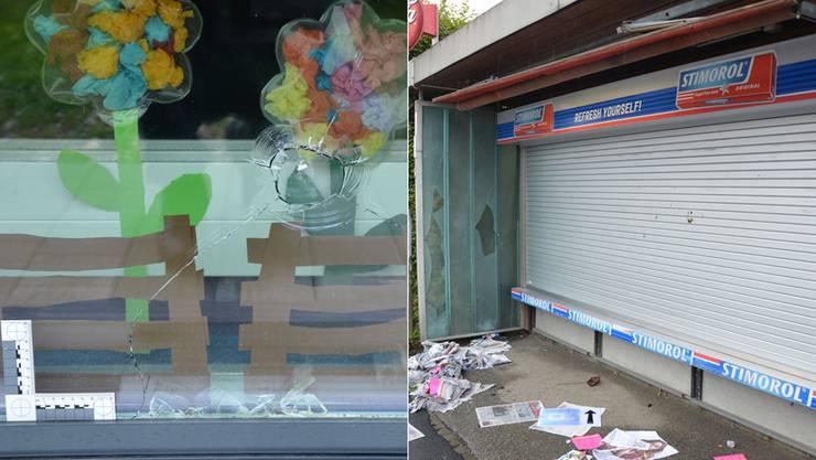 Die Unbekannten warfen Steine gegen die Scheibe des Kindergartens und wüteten auch bei einem Kiosk.
