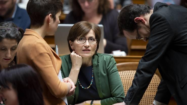 Die interimistischen Co-Präsidenten Lisa Mazzone (links) und Balthasar Glättli mit Regula Rytz.
