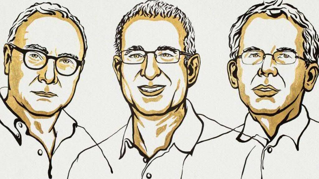 Die drei Forscher David Card, Joshua Angrist und Guido Imbens sind mit dem diesjährigen Wirtschaftsnobelpreis ausgezeichnet worden. Sie haben mit ihrer Forschung neue Erkenntnisse über den Arbeitsmarkt geliefert.(Bild von nobelprize.org)