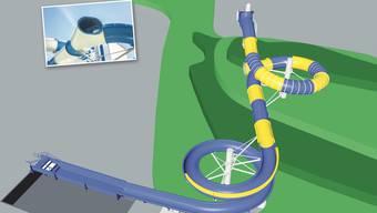 Die neue Wasserrutschbahn (inkl. Fake Slide, kleines Bild) im Regibad Zurzach soll 78,3 Meter lang werden und kostet rund 335 000 Franken.
