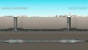 Die Visualisierung zeigt, wie Cargo Sous Terrain funktionieren soll.