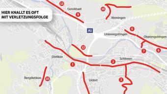 Das sind die gefährlichsten Limmattaler Strassen (komplette Karte unten).