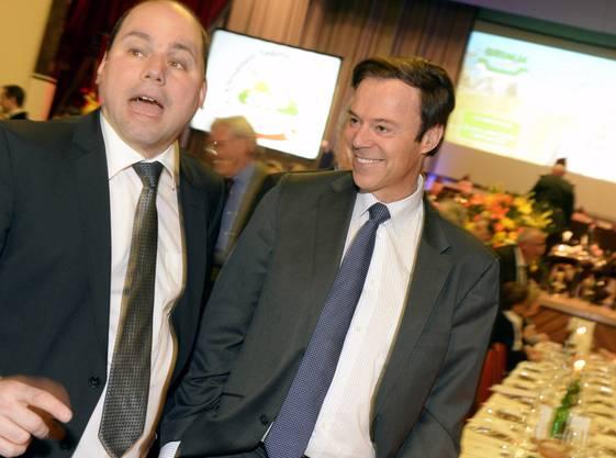 Der Zuercher Gemeinderat Mauro Tuena, links, und Nationalrat Christoph Moergeli,